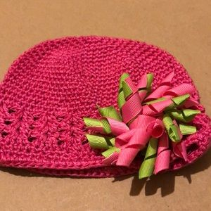 INFANT HAT WITH CLIP ON BOW PINK